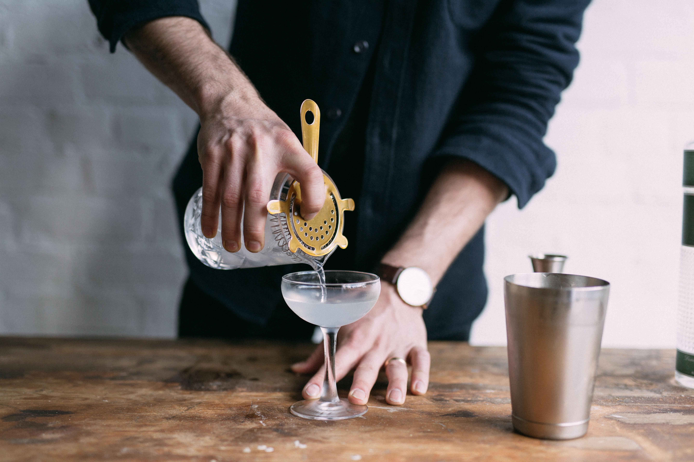 Pouring the martini