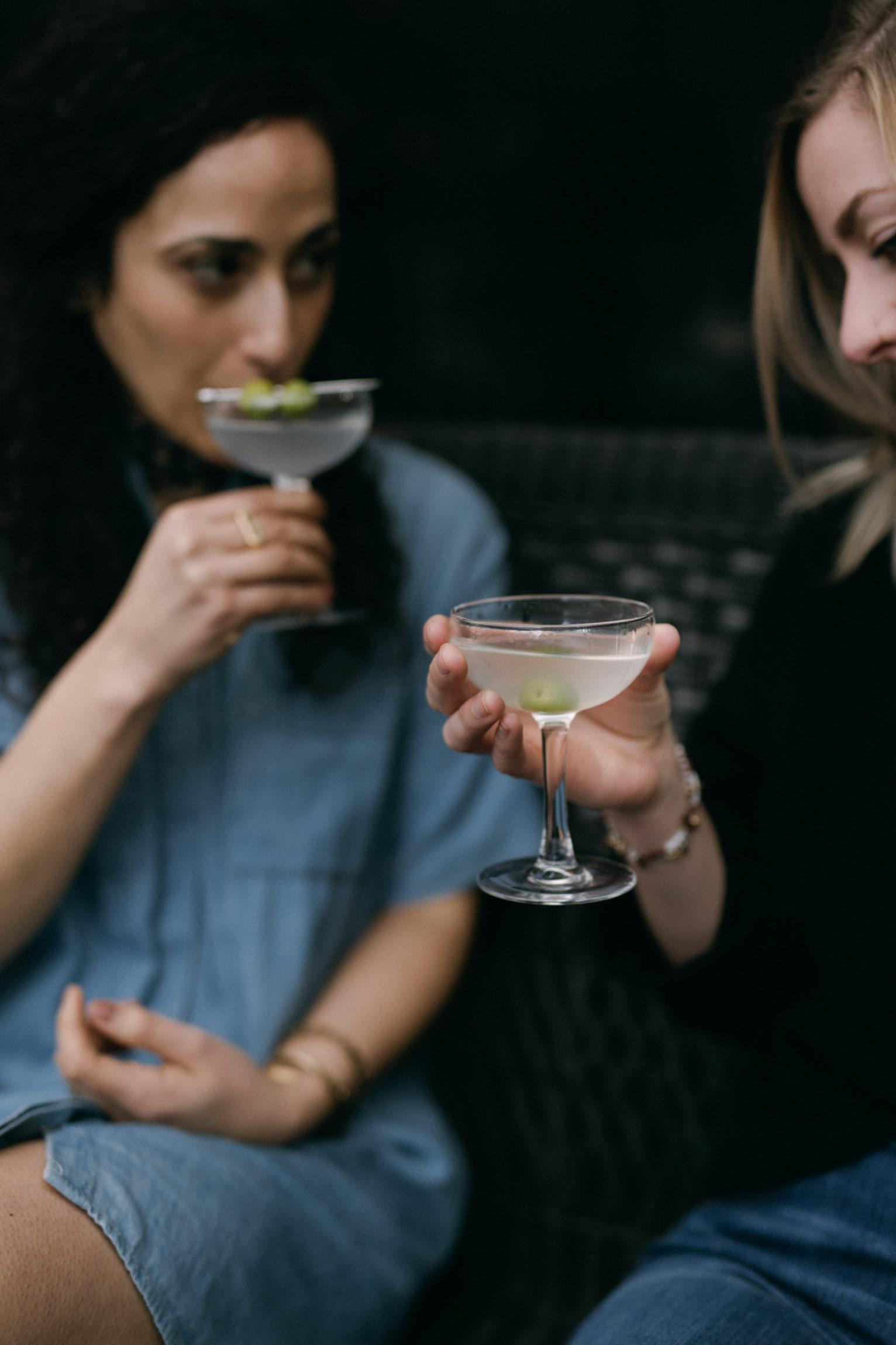 Sarah Barkawi and Ashley Rodseth Drinking Martinis