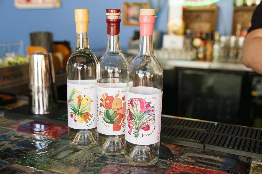 A few mezcal bottles