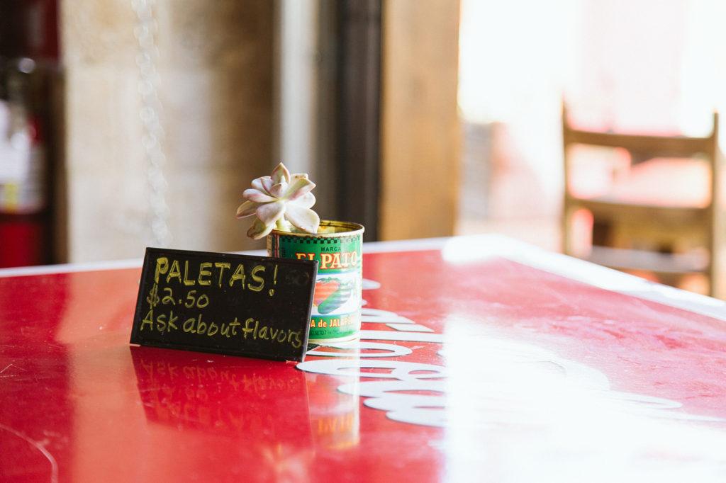Sign for Paletas
