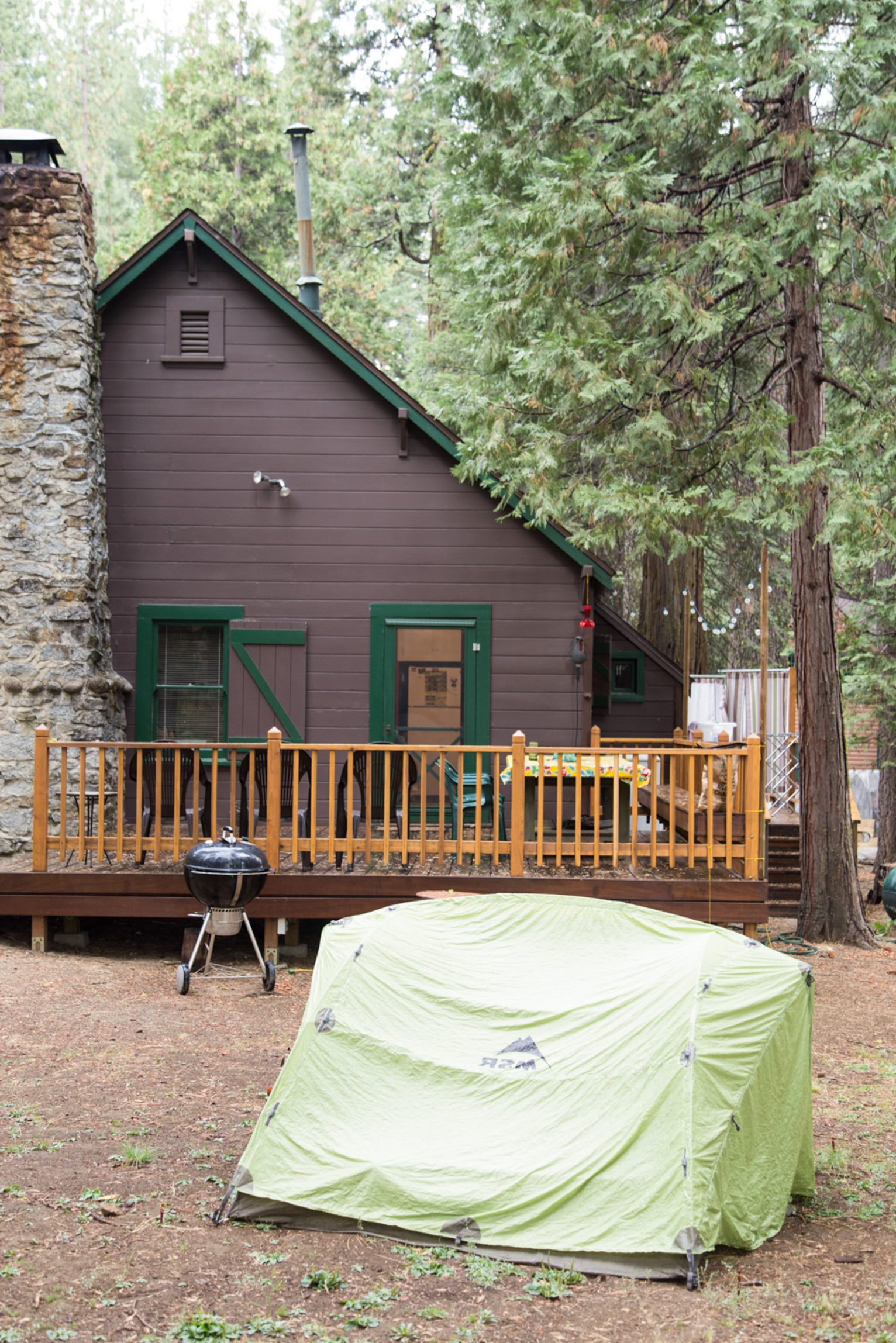 Meghan Phillips' family cabin with Grady Fike's tent pitched out front