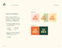 Lei Back Brand Guideline showing logo color combinations